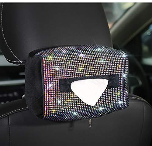eing Luxury Bling Car Sun Visor Tissue Case Holder Paper Towel Bag Cover Plush Auto Tissue Box Back Seat Headrest Hanging Napkin Clip,Multicolor