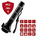 MOTORBUDDY Multi-Function Car Safety Hammer, All-in-1 Emergency Escape Hammer with Window Breaker, Seatbelt Cutter, Mobile Power, LED Flashlight, Alarm Rescue, Strobe SOS Beacon, Compass, Black