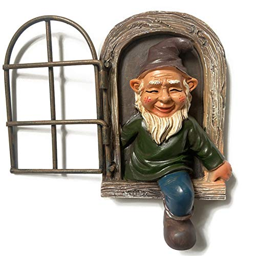 JOOBEE Gnome Leave The Window Whimsical Tree Sculpture Garden Decoration Mini Garden Gnome indoor Outdoor Ornament