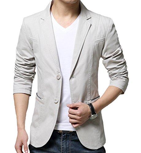 OUYE Men's 2 Button Cotton Casual Blazer 5X-Large Beige