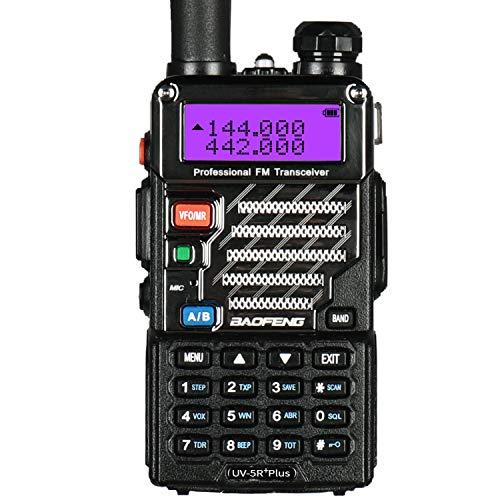 BaoFeng Plus 2m/70cm walkie Talkie portatil Radio Aficionado, Doble Banda VHF/UHF y 128 Canales de Memoria (Negro)