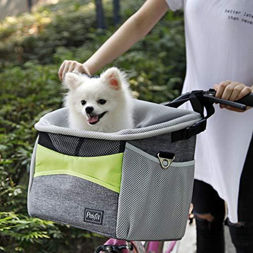 TOMSSL Fahrrad pet cage, Hund Fahrrad vorne kleinen Wagen, Fahrrad Lenker kleinen pet Halter mit Schultergurt, 40 * 32,5 * 23 cm, grün und grau