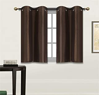 Fancy Linen 2 Panel Faux Silk Blackout Curtain Set Solid Dark Brown with Grommet Top Room Darkening Short Tier Drapes for Kitchen, Bathroom or Any Small Window New