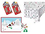 Kid's Activity Christmas Holiday Paper Table Cover and Activity Placemats with Stickers and Crayons for 8 Guests