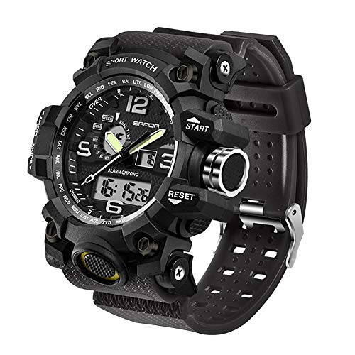 Men's Military Watch, Dual-Display Waterproof Sports Digital Watch Big Wrist for Men with Alarm (Black)