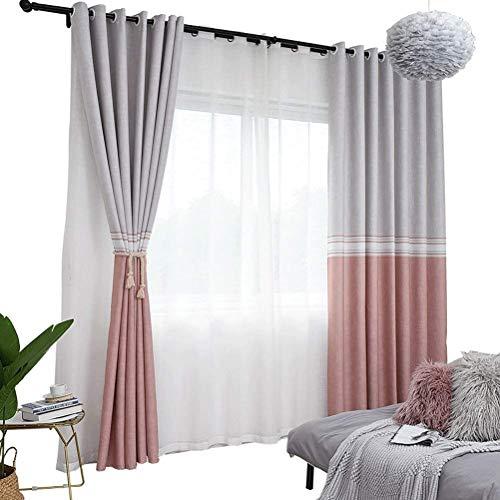 RR & LL gordijnen in Scandinavische stijl, ondoorzichtig, voor slaapkamer, glazen deuren, woonkamer, ramen, vloer tot plafond (grootte: breedte 300 cm, hoogte 270 cm (ideau)) Width 350*height 270cm (curtain) 5 stuks.