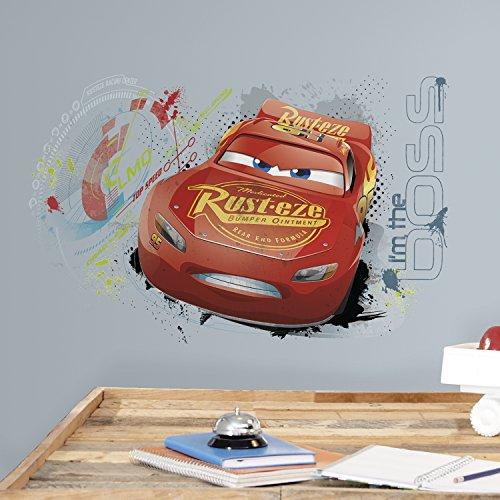 Pixar Sticker géant repositionnable Disney Cars 3 McQueen Graphique, Vinyle, Rouge, 28,96 x 42,93 by 68,07 x 42,67
