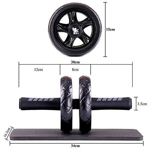 H&S® Ab Abdominal Exercise Roller With Extra Thick Knee Pad Mat - Body Fitness Strength Training Machine AB Wheel Gym Tool