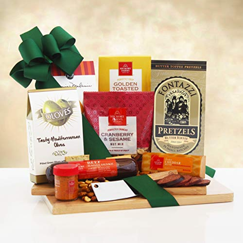 Cutting Board of Savory Treats Meat and Cheese Gift Set | Office Gift Idea