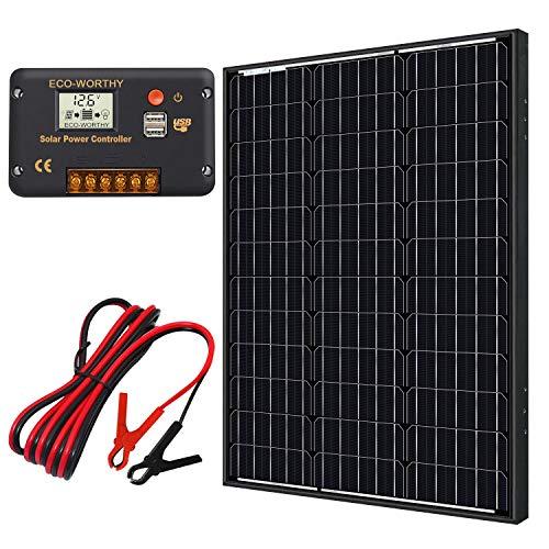 ECO-WORTHY Kit de panel solar monocristalino 60W 12V + controlador de carga 20A para batería de 12 voltios Sistema fuera de la red