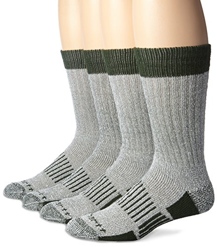 Carhartt Men's A118-4 Cold Weather Wool Blend Crew Socks (Pack of 4), Green, Shoe Size: 6-12