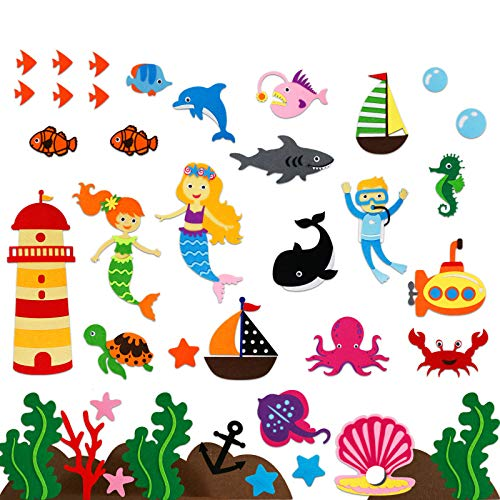 Under The Sea Animals Felt/Flannel Boards Stories Figures Sets for Toddlers Preschool  Kids Interactive Storytelling Teaching Play Kits  40 Pieces