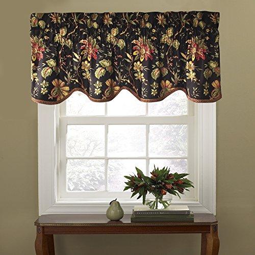 "WAVERLY Felicite Floral Pattern with Grimp Trim Window Valance Curtains, 50"" x 15"", Noir"