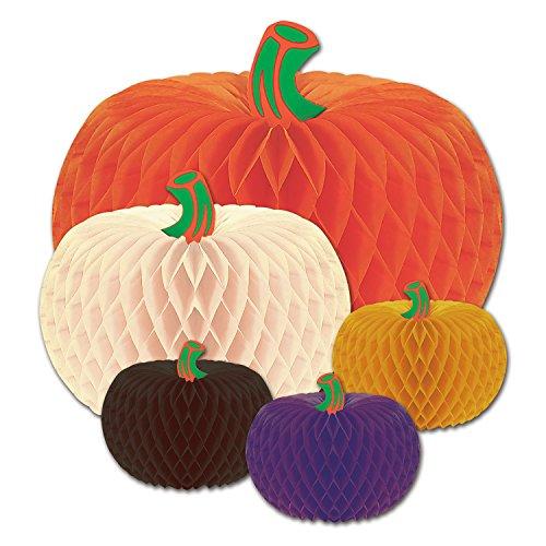 """Beistle Helloween Pacote com 5 acessórios de festa de design de lenços de abóboras (1/peça), Orange/White/Purple/Black/Green, 4""""-10"""", 1"""