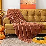 MIULEE Mantas Cama Mantas de Punto de Tejido Diseño Ondulado Suave Cálida Comoda para Adultos y Niños Manta Anti-Frio de Invierno para Descanso Siesta Dormitorio Sofa Silla 1 Pieza 125x150cm Naranja