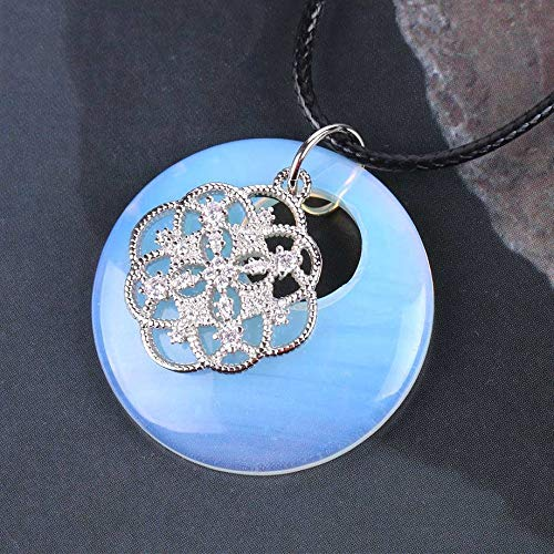 YOUHU Crystal Holder Necklace,7 Chakra Crystal Necklaces Rhinestone Flower Natural Rose Red Veins Agate Pendant Charm Leather Chain Ladies Spiritual Jewelry Gift,Opal
