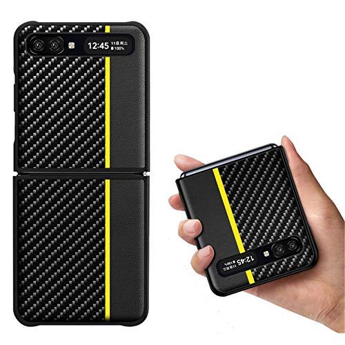 Zouzt für Z Flip 5G Kohlefasergehäuse   Ultra Slim   Leichtgewicht   Kratzfest   Drahtloses Laden   Schutzhülle Kompatibel mit Samsung Galaxy Z Flip/Z Flip 5G Hülle (2020) -Yellow