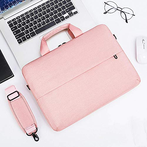 Men's and Women's Clamshell Laptop and Tablet Shoulder Bags, Business Bag briefcases with Handles, specifically Designed to Hold 15-15.6 inches, black-15.6in_Pink