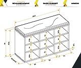 RICOO WM035-ES-B, Schuhregal, 79x49x30 cm, Holz Eiche Sonoma, Sitzbank mit Stauraum, Schuhschrank mit Sitzkissen, Schuhbank für Flur, Schuhablage - 3