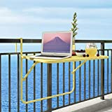 GWM Computer armoires Balcony Hanging Table Railings Metal Wrought Iron Hanging Folding Table Simple Mini Wall Hanging Learning Small Table, 70x50x66cm (Color : Yellow)