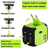 UPPEL Reiseadapter Universal Stromadapter Steckdosenadapter Reisestecker mit Doppel USB-Ports für Europa UK AUS USA CN Universal fusionierten Sicherheit AC-in Einem Ladegerät (Grün) - 5