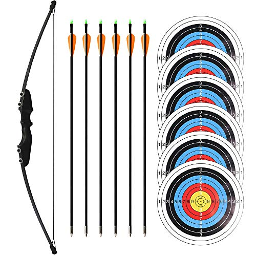 30 Lbs Bow Set - Recurve Bow and Arrows Set for Right Handed Adults or Archery Beginners with 6 Arrows and 6 Target Faces, Takedown Recurve Bow Kit for Outdoor Training Target Practice - Enrack