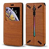 ZTE Nubia Red Magic Case, Wood Grain Leather Case with Card