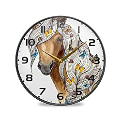vvfelixl Head of A Brown Horse and Butterfly Wall Clock Battery Operated Silent 9.5 Round Mute Quiet Desk Clock Decoration Home Decor Living Room Modern