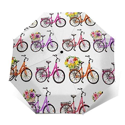 Paraguas Plegable Automático Impermeable Bicicleta Bicicletas Cesta de Flores, Paraguas De Viaje Compacto a Prueba De Viento, Folding Umbrella, Dosel Reforzado, Mango Ergonómico