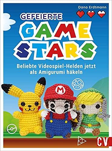 Gefeierte Gamestars häkeln. Beliebte Videospiel-Helden als Amigurumi. Mit Anleitungen von Dana Erdtmann jetzt die Klassiker der beliebten Videospiele häkeln. Häkelfiguren für Gaming-Fans.