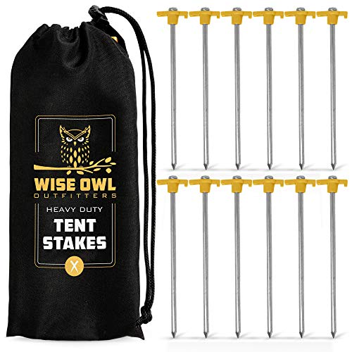 Wise Owl Outfitters Tent Stakes - Heavy Duty Metal Ground Pegs - Galvanized Steel 12 Pack/Aircraft Aluminum 16 Pack - Strong 10 inch Lightweight Outdoor Tent Anchors and Camping Spikes