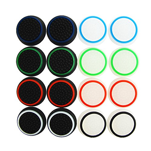 Pandaren® thumb grip caps 16 unidades noctilucentes Pack para PS2, PS3, PS4, Xbox 360, Xbox One, Wii U, Switch PRO mando