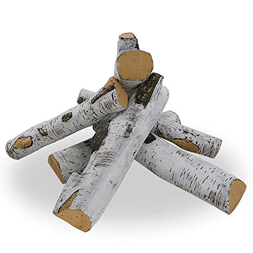 Uniflasy 6 Piece White Birch Wood Log Set, Large Ceramic Fibers Gas Fireplace Logs for Fireplaces, Fire Pits, Gas Inserts, Vented, Propane, Gel, Ethanol, Electric, Realistic Clean Burning Accessories