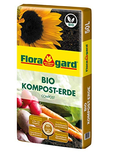 Floragard Bio Kompost-Erde 50 Liter – Pflanzerde für Blumen, Gemüse und Gehölze – mit Bio-Dünger - Gartenerde