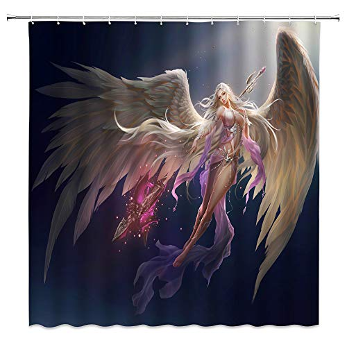 jingjiji Fantasy Girl Shower Curtain Purple Magic Fairy Sexy Angel Wings Female Warrior Fiction Animation Game Design Bathroom Decor Curtains Polyester Fabric Waterproof with Hook 70 x 70 Inch