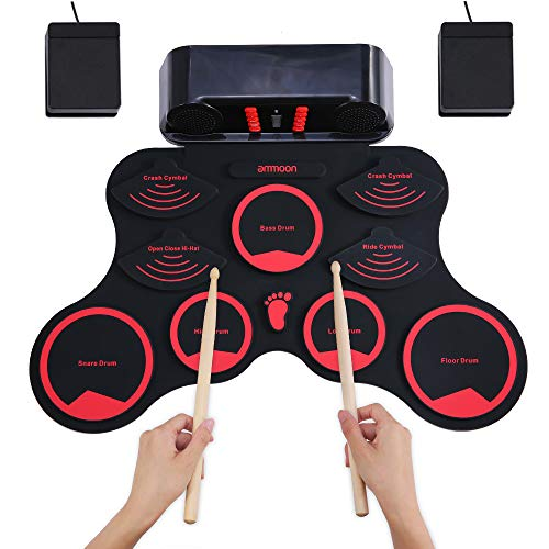 ammoon Electronic Drum Set, Roll Up Drum Practice Pad 9 Silicon Durm Pads Built-in Stereo Speakers Headphone Jack Rechargeable Lithium Battery, Great Holiday Birthday Gift for Kids