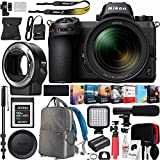 Nikon Z7 Mirrorless FX-Format Full-Frame 4K Ultra HD Camera Body (1594) with NIKKOR Z 24-70mm f/4 S Lens Kit + FTZ Mount Adapter for F-Mount and 120GB Memory Card Deco Gear Backpack Microphone Bundle