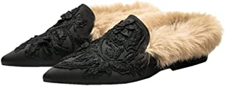 Slip On Loafers,Womens Embroidery Mule Shoes with Plush Lamb Fur Velvet Backless Pointed Toe Mule Slides
