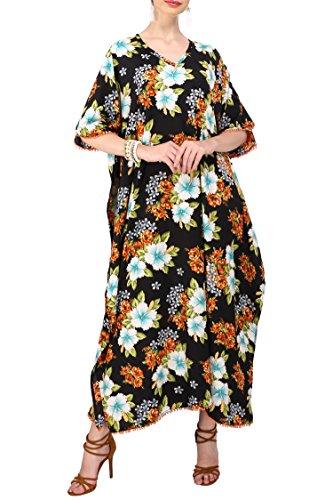 Miss Lavish London Kaftani Kimono Maxi Style Abiti da Donna Adolescenti Per Adolescenti Donne In Formato Regolare A Plus - nero - 56/60