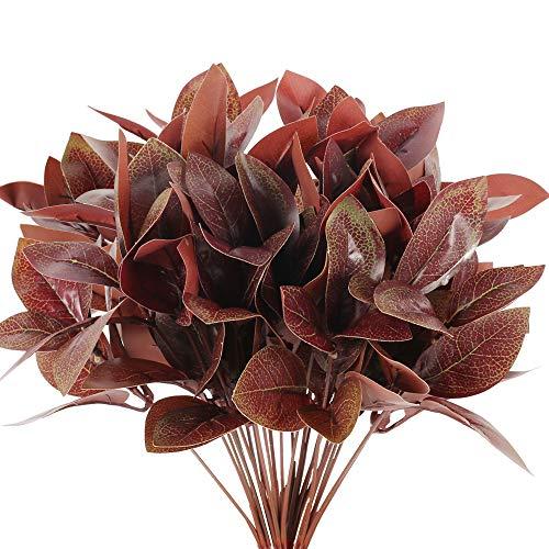 NAHUAA 4pcs Künstliche Pflanzen Deko Kunstpflanzen Außenbereich Künstlich Balkonpflanzen mit Rot Blätter Plastik Pflanze für Balkon Garten Outdoor Topf Hochzeit Zuhause Dekoration