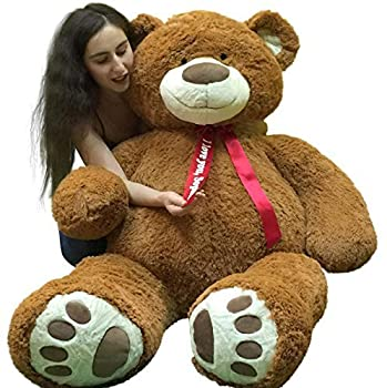 Custom Personalized 5 Foot Very Big Smiling Teddy Bear Five Feet Tall - Your Name or Message Imprinted on Bear s Neck Ribbon Bow - Cookie Dough Brown Color with Bigfoot Paws Giant Stuffed Animal Bear