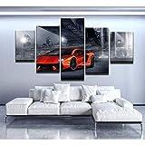 45Tdfc Cuadro En Lienzo 5 Piezas Pintura Red Lamborghi Aventador 2 Supercar Moderno Fotos Material Te Jido No Tejido Arte Pared DecoracióN HogareñA ImpresióN