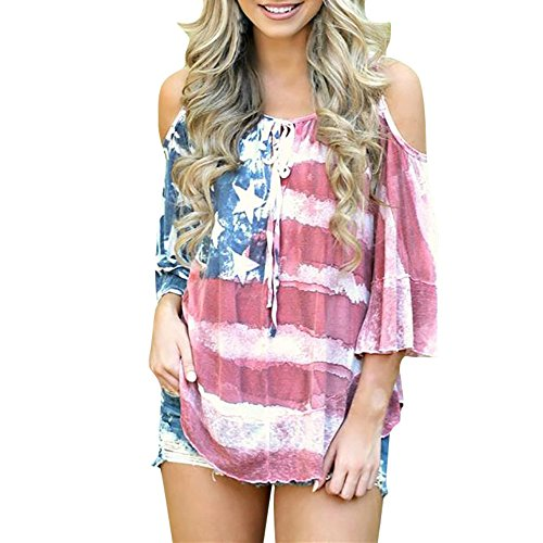 ThsiJJ Women's Top Short Sleeve Women American Flag Loose 4th-of-July Off Shouder T-Shirt Tops Blouse Plus Size Red