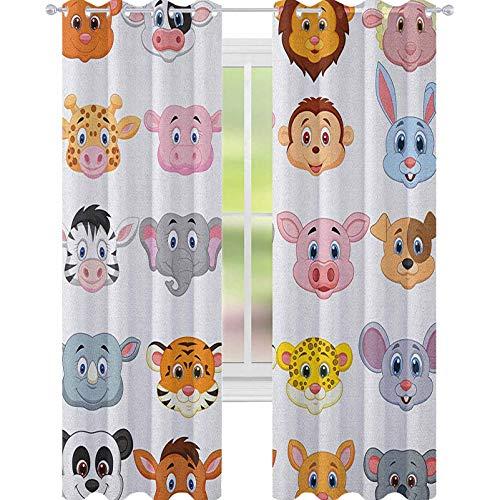 YUAZHOQI Cortina de ventana con diseño de dibujos animados para niños, diseño de animales, leones, cerdos, vacas, granja, safari, habitación de bebé, 132 x 241 cm, multicolor