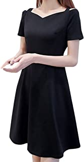Sexy Dresses for Women,Fashion Women Pure Color Off Shoulder Short Sleeve Knee Length Camisole Dress