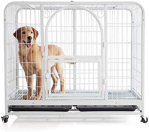 SOAR HundeKäfig für zuhause Large Dog Cage, Weiß Heavy Metal Anti Flucht Doppeltür Pet Crate Spiel Zaun Mit Skylight & Tray & Rad (Size : Medium)
