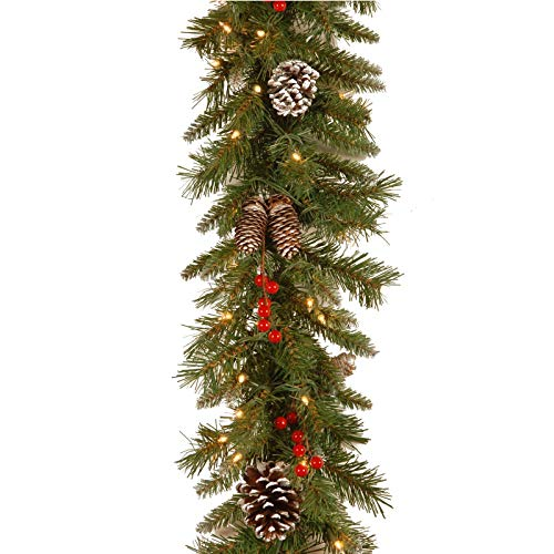 36Guidance Christmas Pine Needles Rattan Garland, 9 ft Multi-Function Artificial Xmas Red Berries, Pine Cones Garland with Warm Yellow LED Lights, Holiday Decor for Front Door, Fireplace (Green)