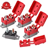 4 Pieces 40 Amp DC 12V - 24V Automatic Reset Circuit Breaker Circuit Breaker with Cover Stud Bolt for Automotive and More