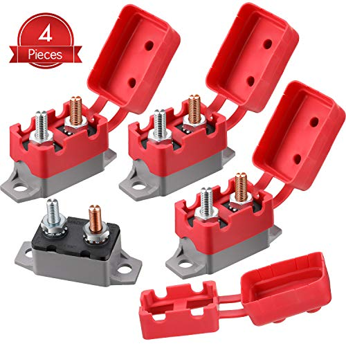 4 Pieces DC 12V - 24V Automatic Reset Circuit Breaker Circuit Breaker with Cover Stud Bolt for Automotive and More (40 Amp)