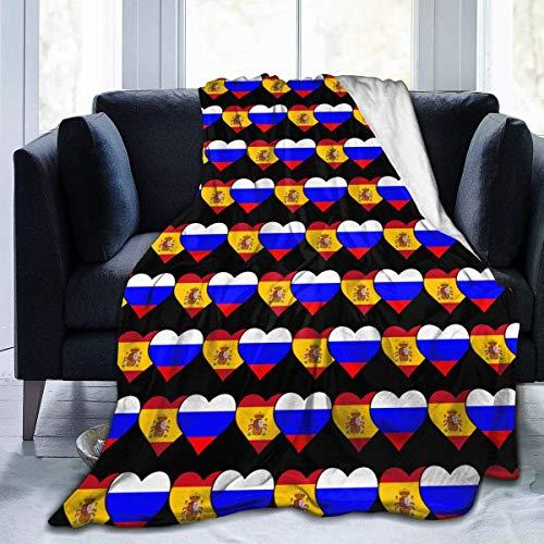 Popcorn In Spring Spanische Flagge und russische Flagge Ultra Soft Flanell Fleece Leichtes Wohnzimmer/Schlafzimmer Warme Decke